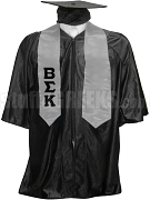 Beta Sigma Kappa Satin Graduation Stole with Greek Letters, Silver