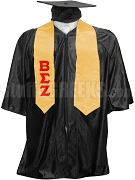 Beta Sigma Zeta Satin Graduation Stole with Greek Letters, Gold