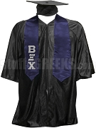 Beta Xi Chi Satin Graduation Stole with Greek Letters, Navy Blue