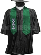 Chi Alpha Delta Satin Graduation Stole with Greek Letters, Kelly Green