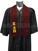 Chi Delta Beta Satin Graduation Stole with Greek Letters, Burgundy