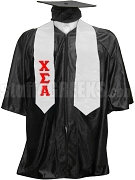 Chi Sigma Alpha Satin Graduation Stole with Greek Letters, White