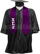 Chi Sigma Xi Satin Graduation Stole with Greek Letters, Purple
