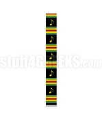 72 Inch Kente Choir Stole with Music Notes, Black