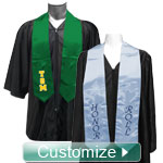 Personlized Embroidered Satin Graduation Stole