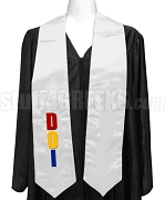 Daughters Of Isis Satin Ladies Graduation Stole with Organzation Letters, White