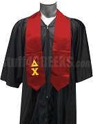 Delta Chi Satin Graduation Stole with Greek Letters, Red