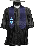 Delta Phi Satin Graduation Stole with Greek Letters, Navy Blue