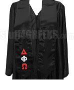 Delta Phi Omega Satin Graduation Stole with Greek Letters, Black