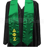 Delta Phi Zeta Satin Graduation Stole with Greek Letters, Kelly Green