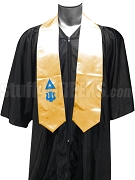 Delta Psi Satin Graduation Stole with Greek Letters, Gold