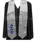 Delta Sigma Chi Satin Graduation Stole with Greek Letters, Gray