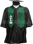 Delta Sigma Phi Satin Graduation Stole with Greek Letters, Forest Green