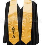 Delta Tau Lambda Satin Graduation Stole with Greek Letters, Gold