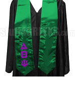 Delta Theta Psi Satin Graduation Stole with Greek Letters, Kelly Green