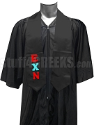 Epsilon Chi Nu Satin Graduation Stole with Greek Letters, Black