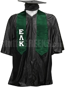Epsilon Lambda Kappa Satin Graduation Stole with Greek Letters, Forest Green