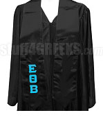 Epsilon Theta Beta Satin Graduation Stole with Greek Letters, Black