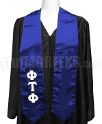 Phi Tau Phi Satin Ladies Graduation Stole with Greek Letters, Royal Blue