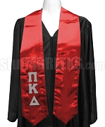 Pi Kappa Delta Satin Ladies Graduation Stole with Greek Letters, Red