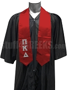 Pi Kappa Delta Satin Men's Graduation Stole with Greek Letters, Red