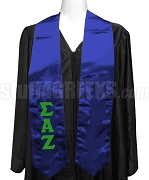 Sigma Alpha Zeta Satin Graduation Stole with Greek Letters, Royal Blue