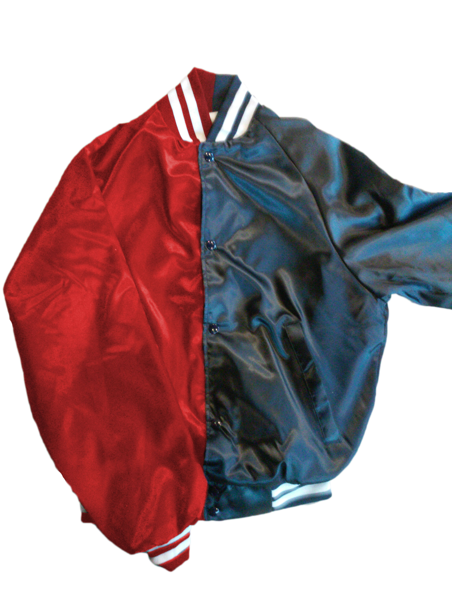 Harley Two-Toned Satin Baseball Jacket, Red/Blue - EMBROIDERED ...