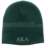 Alpha Kappa Alpha Knit Beanie Hat, Forest Green