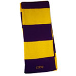 Omega Psi Phi Striped Purple and Gold Scarf with Greek Letters