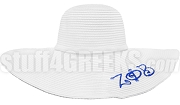 Zeta Phi Beta Floppy Hat with Marble String Greek Letters, White