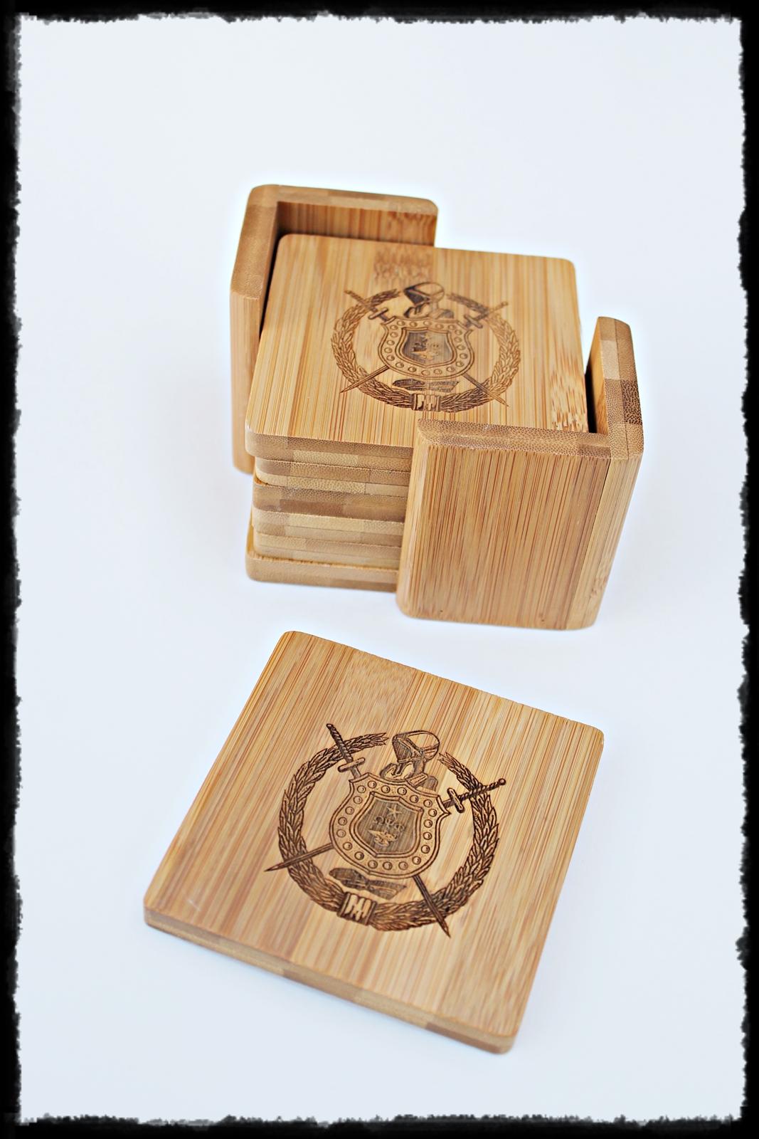 Custom Set Of 6 Laser Engraved Bamboo Coasters