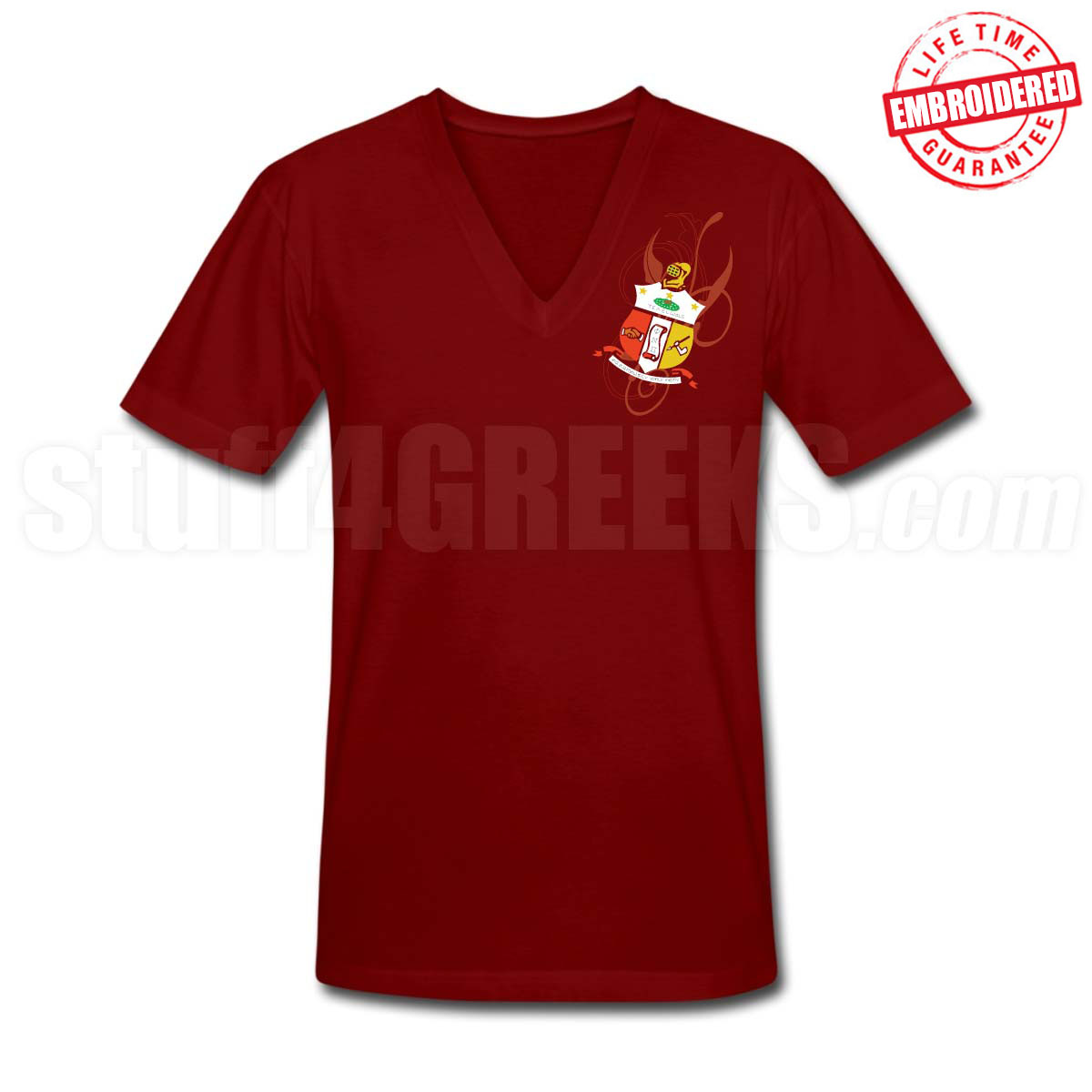 Kappa shield v neck t shirt crimson embroidered with for It s all custom t shirts and embroidery atlanta