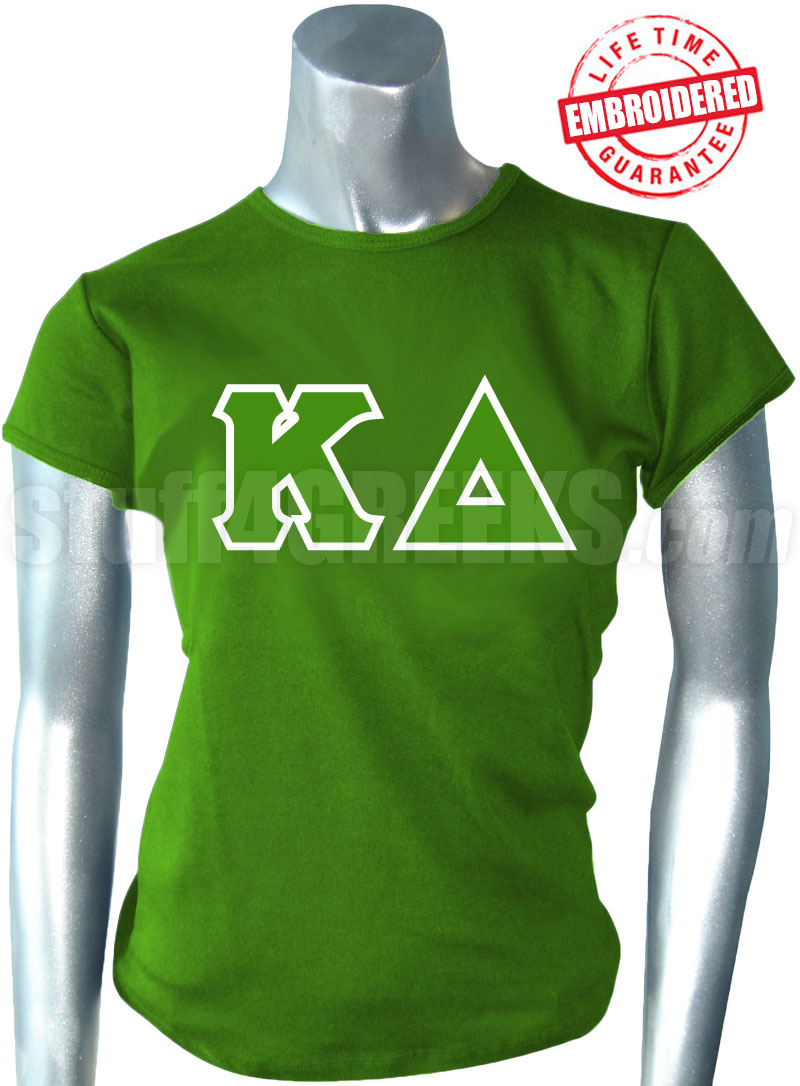 kappa delta t shirt with greek letters kelly green embroidered with lifetime guarantee
