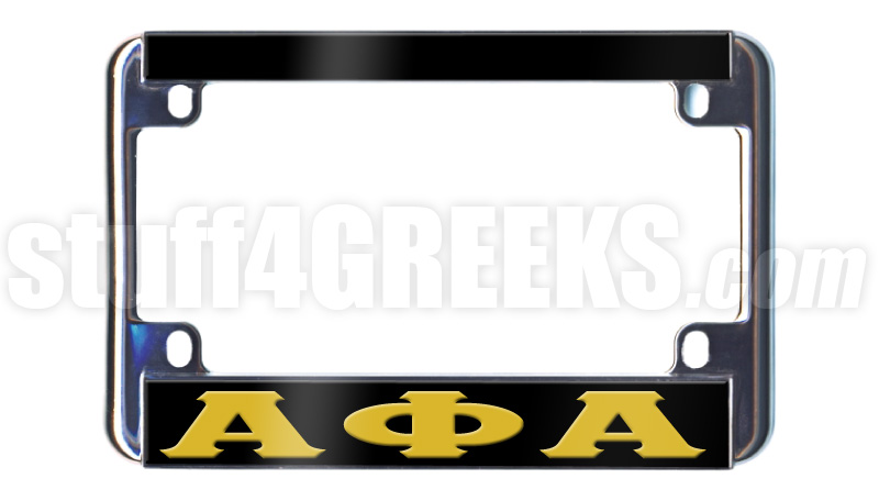 Alpha Phi Alpha Motorcycle License Plate Frame, Black