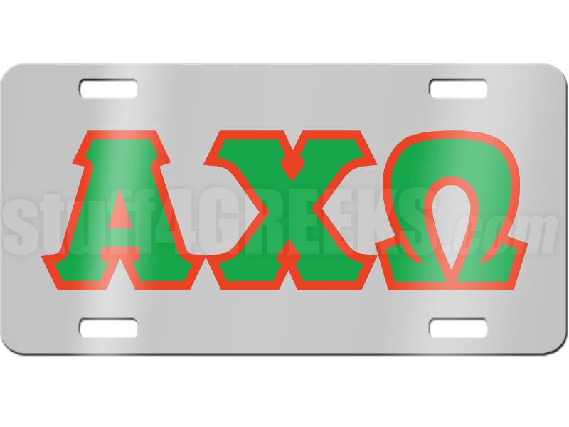 alpha chi omega letter license plate