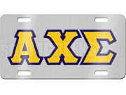 Alpha Chi Sigma License Plate with Gold and Navy Blue Letters on Silver Background