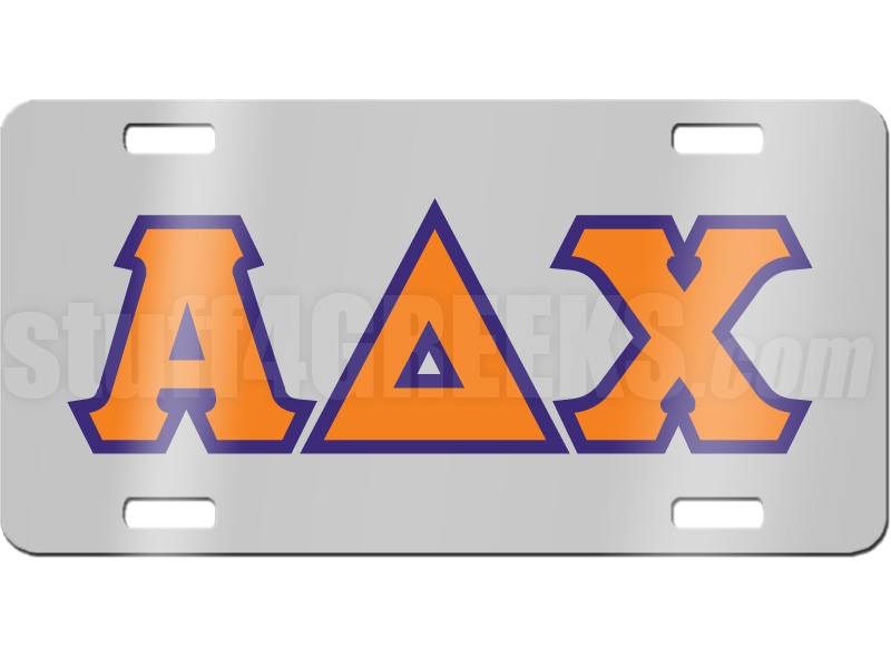 Alpha Delta Chi License Plate With Orange And Royal Blue Letters On