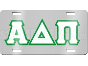 Alpha Delta Phi License Plate with White and Kelly Green Letters on Silver Background