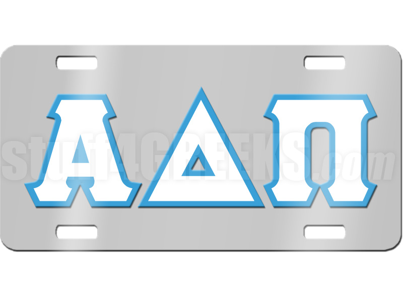 Alpha Delta Pi License Plate With White And Azure Letters On Silver
