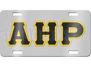 Alpha Eta Rho License Plate with Black and Gold Letters on Silver Background