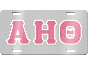 Alpha Eta Theta License Plate with Hot Pink and White Letters on Silver Background