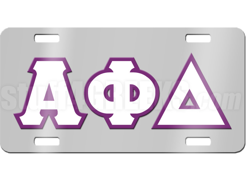 Alpha Phi Delta License Plate with White and Purple Letters on ...