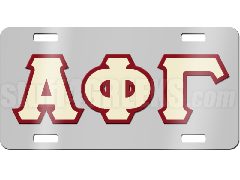 Alpha Phi Gamma License Plate With Cream And Ruby Red Letters On