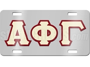 Alpha Phi Gamma License Plate with Cream and Ruby Red Letters on Silver Background