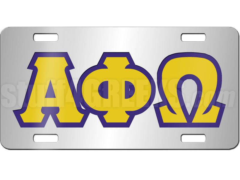alpha phi omega license plate description silver mirrored alpha phi ...