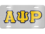 Alpha Psi Rho License Plate with Gold and Navy Blue Letters on Silver Background