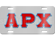 Alpha Rho Chi License Plate with Sanguine and Azure Letters on Silver Background