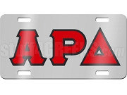 Alpha Rho Delta License Plate with Red and Black Letters on Silver Background