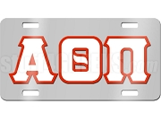 Alpha Theta Pi License Plate with White and Red Letters on Silver Background