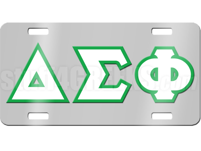Delta Sigma Phi License Plate With White And Kelly Green Letters On